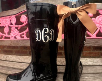 Monogrammed Rain Boots Black with Bow