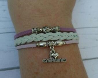 Gymnastics Charm Bracelet// Mint & Purple Friendship Bracelet// Girl's Sports Bracelet// Gymnastics Gift// Choose Charm and Cord Colors