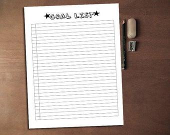 Goal Template A5, Goal List, Goal Sheet, Goal Tracker, Monthly Goal Planner, Printable Goal PDF, Fill-In Planner