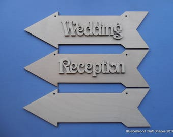 Packof one Wedding Arrow Reception directional hanging sign 30cm
