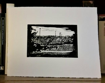 Riverdale Park Toronto lino print, Toronto park print, handcarved lino of Bloor viaduct, handprinted Toronto bridge, Broadview scene