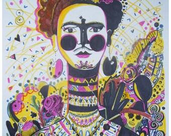 Frida. Frida Kahlo. Illustration. Original artwork. Graphics.Style. Mexico. Art. Artwork.