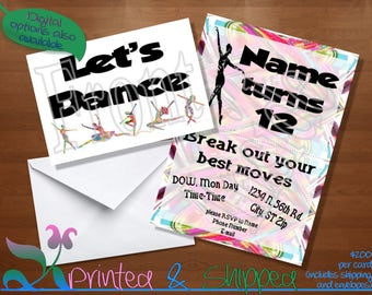 Let's Dance Abstract Silhouette Invitation; Folded Card; Postcard; PDF; E-Card
