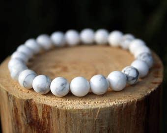 White Howlite Bracelet, Howlite Bracelet, Yoga Bracelet, White Bead Bracelet, Gemstone Bracelet, Beaded Bracelet, Men's/Women's Bracelet