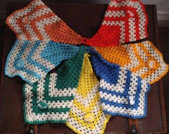 Handmade colourful crochet vintage bunting