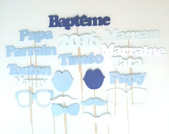 19 éléments pour photobooth-baptême-personnalisés prénom-bleu et blanc