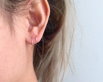 Double small hoop earrings, sterling silver double hoops