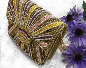 SALE Rainbow Pearl Embellished evening clutch party clutch prom clutch bridesmaid wedding purse handbag evening purse party bag