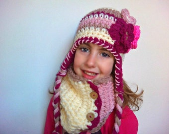 gift for kids, crochet hat and scarf set for girls, girls hat and scarf, baby girl crochet hat, womens hats, Hat and Scarf for Toddler,