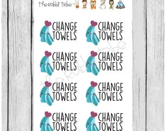 Mini Sticker Sheet - change towels - planner stickers