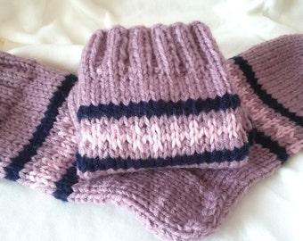 Women's Socks Wool Socks in Pink with Stripes Size 38/39 Gift for women