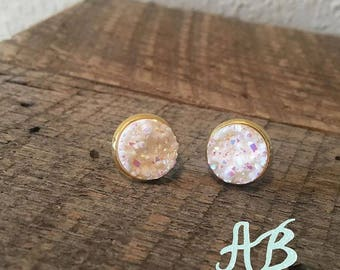 Druzy Earrings - Shimmer White