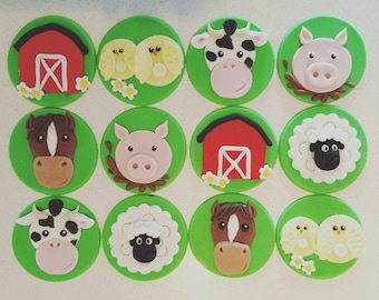 24 x Farm Animal cupcake toppers