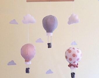 Hot air balloon mobile- baby mobile- cot mobile- nursery mobile- baby girl mobile- rose gold nurser decor- crib mobile- hot air balloons