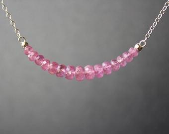 Pink Sapphire Necklace, SapphireNecklace, Gemstone Bar Necklace, Pink Sapphire Choker, September Birthstone