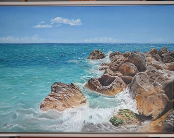 """ORIGINAL Oil Painting, """"Côte d'Azur"""", Hand Painted, Art on Canvas - Signed by Artist"""