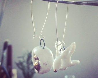 Porcelain bird and nest earrings