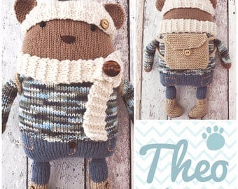 Knitted Bear Theo with accessories PDF Knitting Pattern