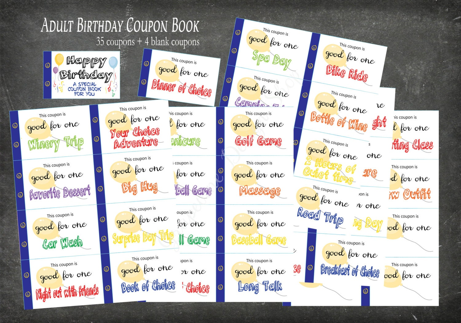 birthday coupon book for adults  35 coupons 4 blank  adult