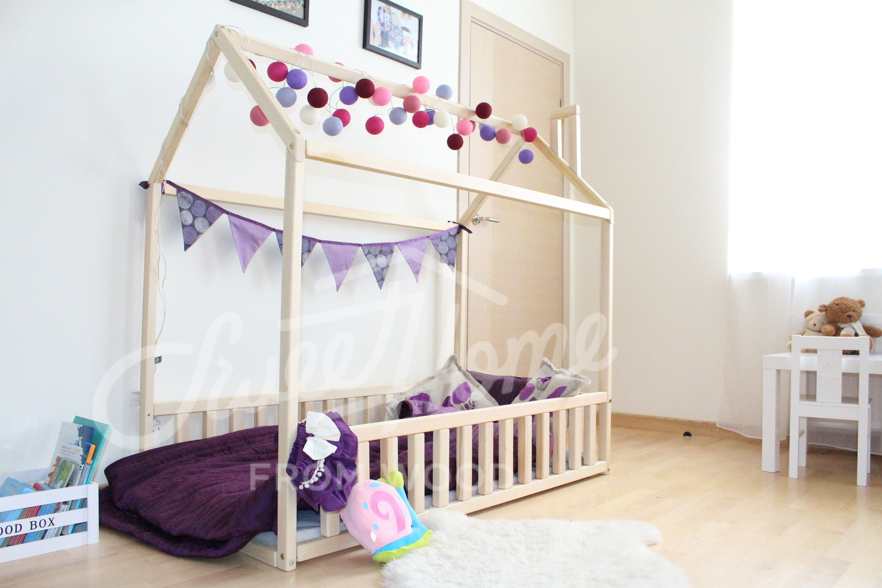 wood bed twin children bed montessori bed kid bed children. Black Bedroom Furniture Sets. Home Design Ideas