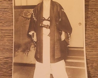 Chinese Man Instructor Ninja Photo Antique Postcard Black White Rare