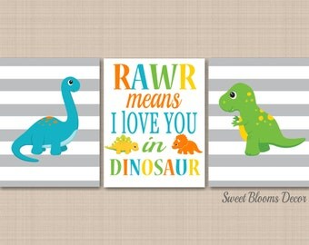 Dinosaur Nursery Wall Art,Dinosaur Kids Room Decor,Rawr Means I Love You Dinosaur,Blue Green Orange Dinosaur Kids Room Decor-UNFRAMED 3 C217