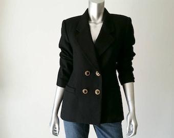 80s Jacket | Vintage Jacket | Wool Jacket | Jacket Black | Black Blazer |