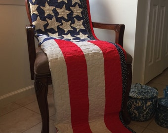 Vintage 50 Stars American Flag quilt top newly quilted