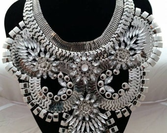 Statement oversize bib silver colour necklace with rhinestones