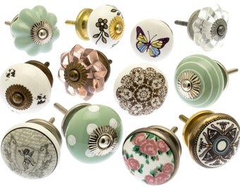 Mixed Set of 12 Hand Painted Shabby Chic Ceramic and Glass Cupboard Drawer Knobs (Etsy 01)