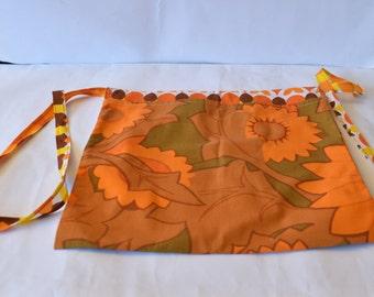 Retro/Vintage Floral Half Apron With Pocket Material Orange Nice Condition