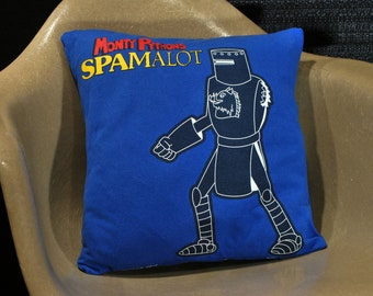 Upcycled T-Shirt Throw Pillow. Monty Python Spamalot. Handmade | It's Just A Flesh Wound Tour Black Knight From Holy Grail. Stage Production