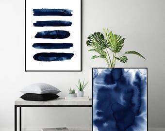 Set of 2 Abstract Watercolor Prints Blue Paintings Indigo Blue Navy Wall art Stripes Minimalist Minimal Watercolor Large Abstract Modern art