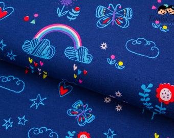 Jersey RAINBOW UNICORNS - combi fabric dark blue