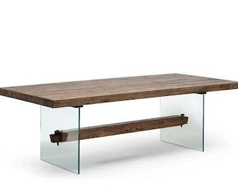Glass Base Table with Rustic Oak Top