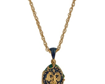 """Russian Coat of Arms with Heart Charm Egg Pendant Necklace 19""""- SKU # YF22-7-necklace"""