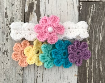 Crochet newborn 3,6,9,12 month baby headband with interchangeable flowers