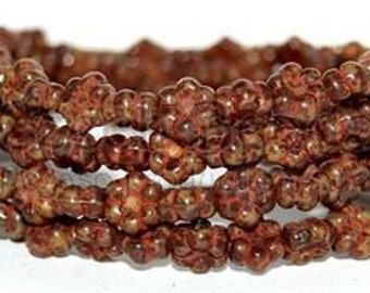Brown Mix Picasso, 8mm Hawaiian Flowers, Czech Pressed Glass Beads, 1 Full Strand (30 Pcs)
