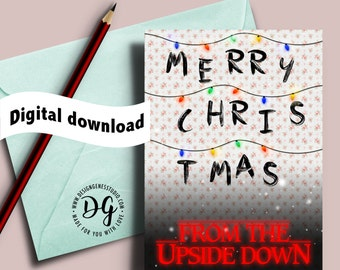 Printable Stranger things Christmas card, Christmas lights, the Upside down, Stranger things card, Mike Lucas Dustin Eleven Will