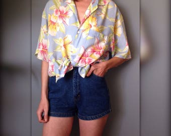 CREEKS shirt vintage 90 s Hawaiian tropical floral oversized (L-XL/42)