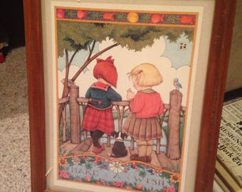 Lovely frame vintage print of two young girls