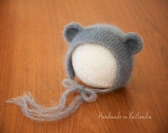 Baby Hat with Ears, Newborn Hat, Sitter Hat, Mohair Bear Bonnet Photo Prop