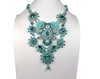 Collar embroidered couture, clasp in silver, turquoise, white shades, neo baroque, Swarovski Crystal, plastron