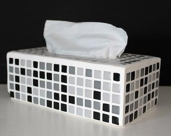 Mosaic glass square tissue box