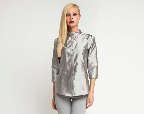 Silver metallic shirt sexy womens shirt silk blouse womens for Silver metallic shirt women s