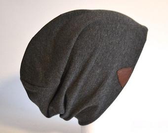 Beanie Hat grey Jersey Beanie dark grey