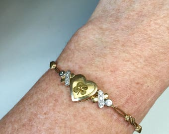 FREE SHIPPING - Antique Art Deco 9k gold & diamonds lucky four leaf clover heart and kisses bracelet, Love, Luck, Bridal, Jewelry, 1920s
