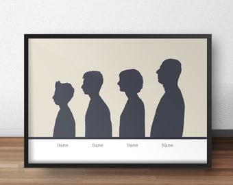 Custom family silhouette personalized silhouette gift custom silhouette print personalized family silhouettes wall art silhouette artist