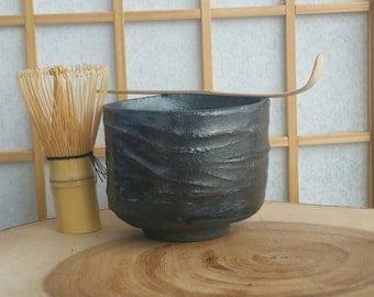 Black chawan, matcha teabowl for Japanese tea ceremony
