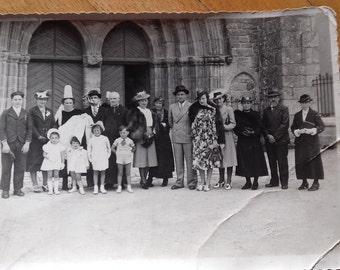 vintage photo-baptism/ baptême/ 1939/ Studio POUILLOT Ehanno Pont l'Abbé/ France